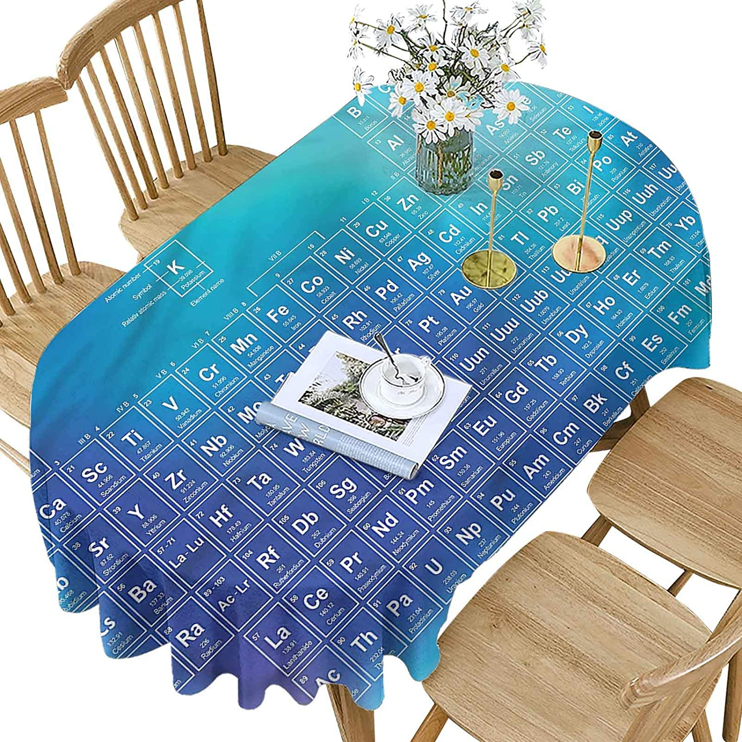 Hiiiman 25% OFF Science Polyester Oval Element Chemistry Max 56% OFF Tabl Tablecloth
