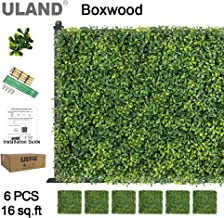 ULAND Artificial Boxwood Hedge Panels, Grass Greenery Backdrop, Outdoor Ivy Garden Fence, Home Wall Decorations, Pack of 6pcs 20