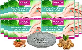 Vaadi Herbals Elbow-Foot-Knee Scrub Soap with Almond and Walnut, 75g (Pack of 12)