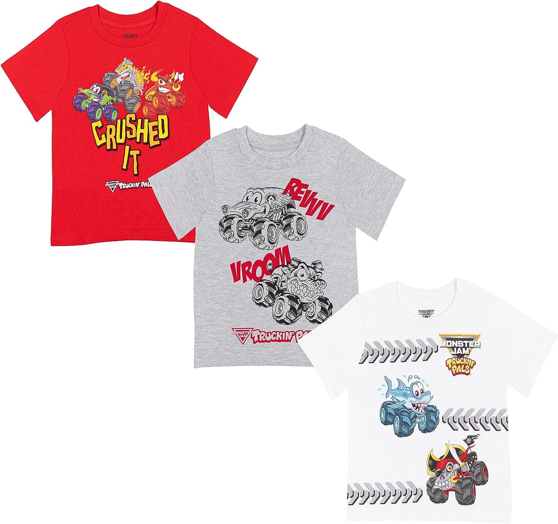 Monster Jam Truckin' Pals Boys 3 Pack Graphic Short Sleeve T-Shirt