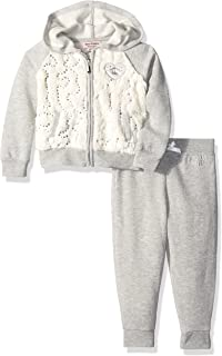 Baby Girls' 2 Piece Fleece Hooded Jacket with Faux Fur and Pant Set