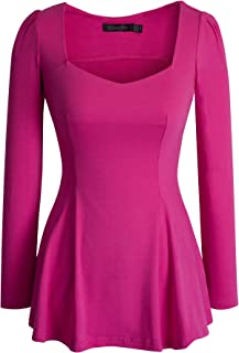 HOMEYEE Women's Vintage Square Neck Long Sleeve Peplum Tops Blouse 542