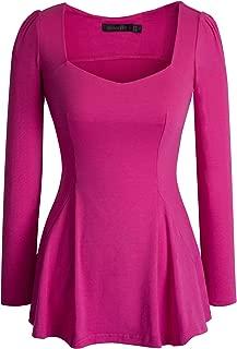 Women's Vintage Square Neck Long Sleeve Peplum Tops Blouse 542