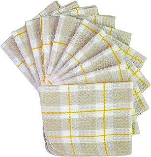 Honla Cotton Windowpane Kitchen Dish Cloths,Set of 10,13 by 13 Inch,Machine Washable,Tan
