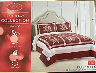St. Nicholas Square 1 Piece Reversible Embroidered Snowflake Holiday Collection Quilt, Jolly Queen
