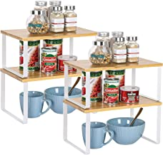 NEX Bamboo Kitchen Cabinet and Counter Shelf Organizer, Stackable & Expandable, Set of 4, White and Natural