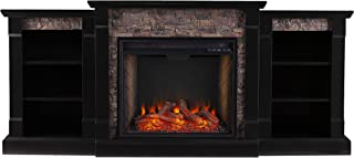 Southern Enterprises Gallatin Alexa-Enabled Smart Bookcase Fireplace, Black