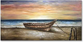 Alenoss Oil Paintings 24x48 inch 100% Hand Painted Boat on Beach Sunrise Blue Sea Warm Color on Canvas Style Wall Art Sailboat Artwork for Home Walls Decoration Wood Inside Framed Ready to Hang
