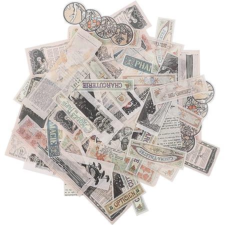 Scrapbooking Sticker 80Pcs Washi Paper Stickers Set Autocollant Scrapbooking Autocollants Thème du Timbre Astronomie Main Compte Vintage Ephemera Pack pour Bullet Journaling DIY Décoration