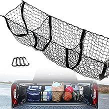 SnowyFox 3 Pocket Trunk Cargo Organizer Storage Net - Heavy Duty Cargo Net for Car SUV Pickup Truck Bed - Black Mesh with ...