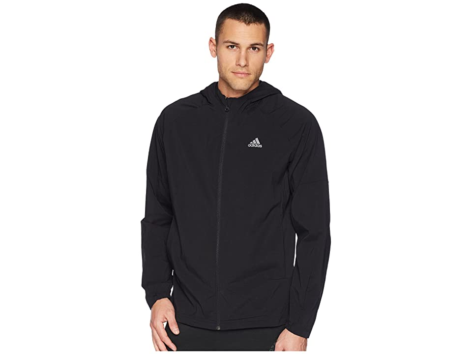 adidas Sport ID Full Zip Woven Hoodie (Black/Black) Men