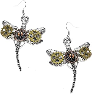 Steampunk Collection: Mix-Tone Dragonfly Drop Earrings