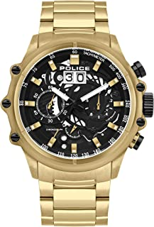 Police Watches Luang Mens Analog Quartz Watch with Stainless Steel Bracelet PL.16018JSG-02M