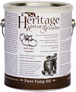 Heritage Natural Finishes – 100% Pure Tung Oil – Natural Oil Finish For All Types of Woodwork – Approved Food Safe By The FDA (1 Gallon)