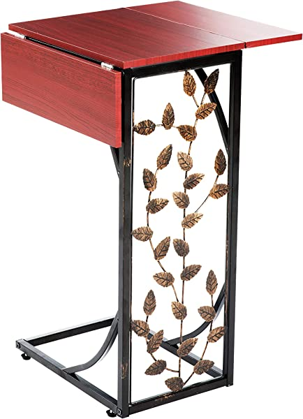 Etna Sofa Side Table Perfect For Your Night Stand Bedside Couch Living Room TV Trays Expandable 2 Leaf Metal And Dark Brown Wood Top With Leaf Design C Shaped Snack Narrow End Table
