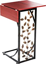Etna Sofa Side Table Perfect for Your Night Stand, Bedside, Couch, Living Room, TV Trays - Expandable 2 Leaf – Metal and Dark Brown Wood Top with Leaf Design C Shaped Snack Narrow End Table