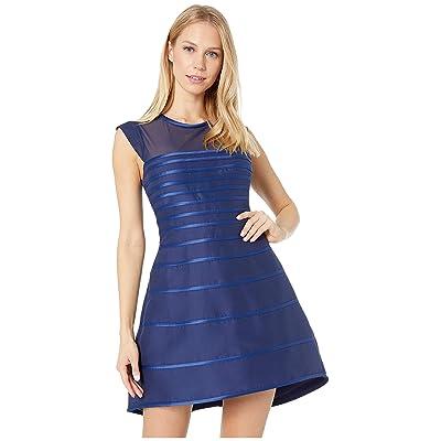 Halston Heritage Cap Sleeve Scoop Neck Satin Strip Structured Dress (Navy 1) Women