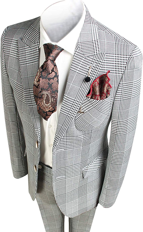 YZHEN Men's Suit Plaid Two Button Jacket&Pants