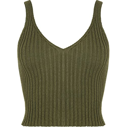e43f9318934e7f WearAll Women's Stretch Sleeveless Ribbed Knitted Crop Short Vest Top ...