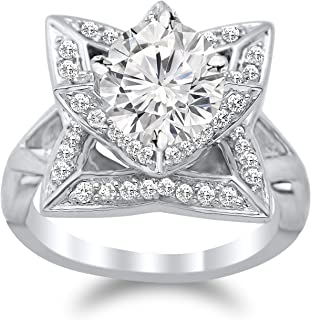 moissanite flower engagement ring