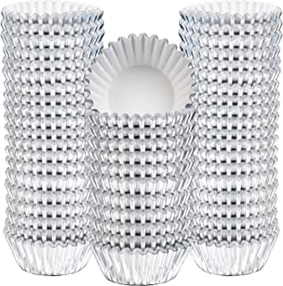 Sumind 400 Pieces Mini Cupcake Cup Liners, Foil Baking Cups, Foil Cupcake Liners for Baking Muffin and Cupcakes (Silver)