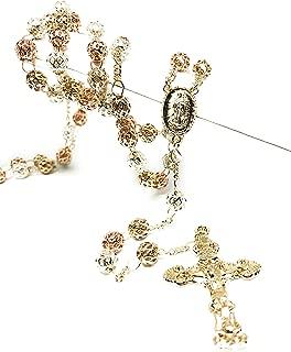 Fran & Co. Gold Plated Tri-Color Virgin Mary Rosary Necklace Virgen de Guadalupe Rosario Crucifijo Oro Tres 26