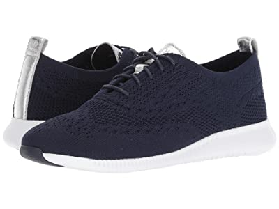 Cole Haan 2.Zerogrand Stitchlite Oxford (Marine Blue Knit/Ch Argento Metallic/Optic White) Women