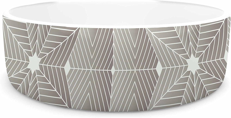 KESS InHouse Angelo Cerantola Star Lounge Beige Tan Illustration Pet Bowl, 7  Diameter