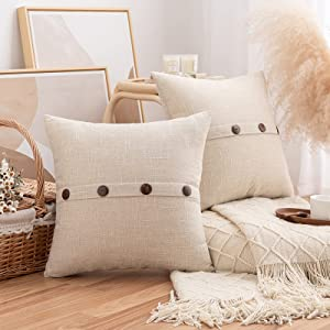 Pack of 2 Burlap Linen Throw Pillow Covers with Buttons, Rustic Farmhouse Decorative Boho Square Pillowcases Cushion Throw Pillows for Couch Sofa Living Room Outdoor Decor, Beige, 18 x 18 Inch