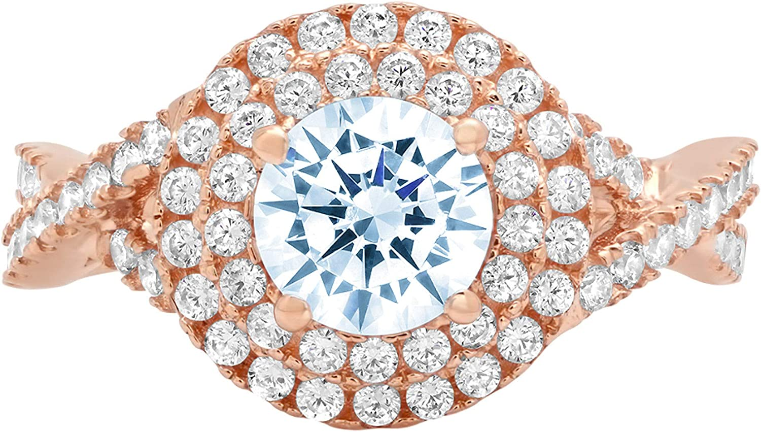 1.40ct Brilliant Round Cut Solitaire double halo Natural Topaz Gem Stone Ideal VVS1 Engagement Promise Anniversary Bridal Wedding with accent Ring 14k Rose Gold