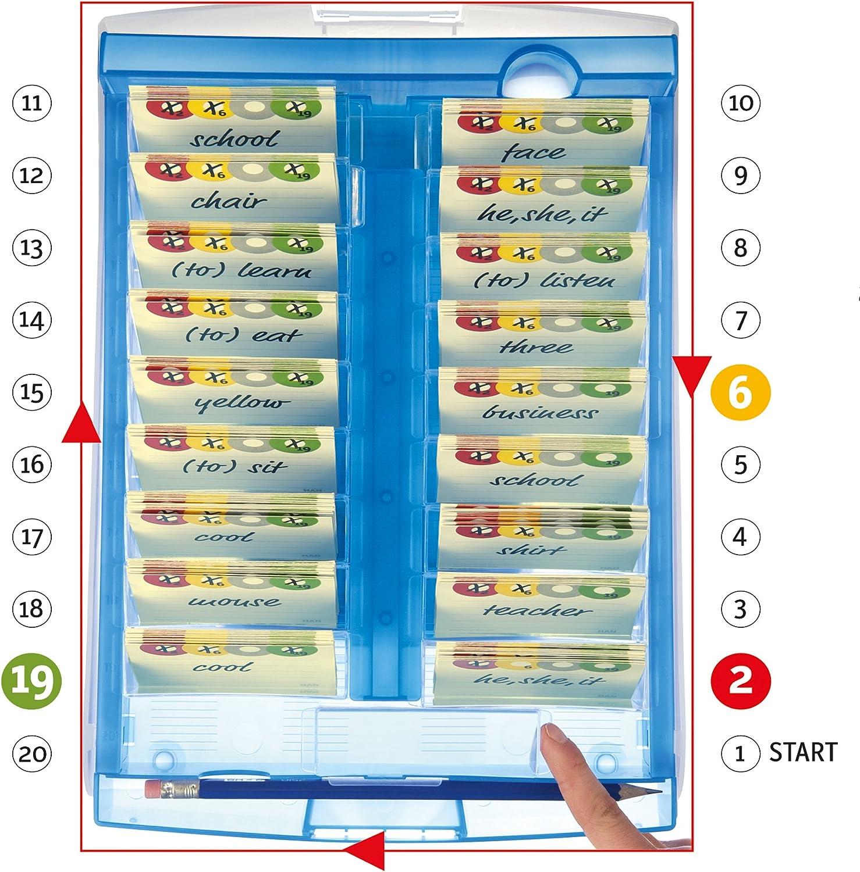 HAN Lernkartei CROCO 2-6-19 – Lernsystem für Vokabeln. Dank Kästchen schieben ins Langzeitgedächtnis, einfach genial Vokabellernen, transluzent-blau transluzent-blau