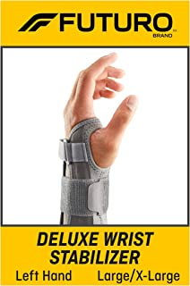 FUTURO Deluxe Wrist Stabilizer, Helps Support Symptoms of Carpel Tunnel Syndrome, Weak or Injured Wrists, Large/X-Large
