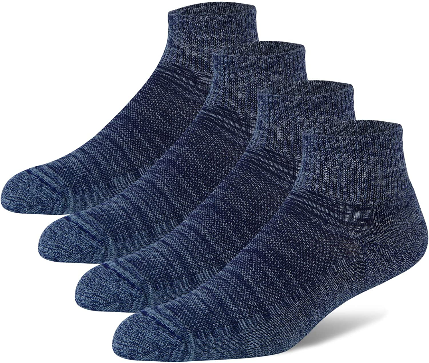 +MD Mens Bamboo Athletic Ankle Socks Extra Cushioned Running Quarter Socks with Seamless Toe 4/6 Pack
