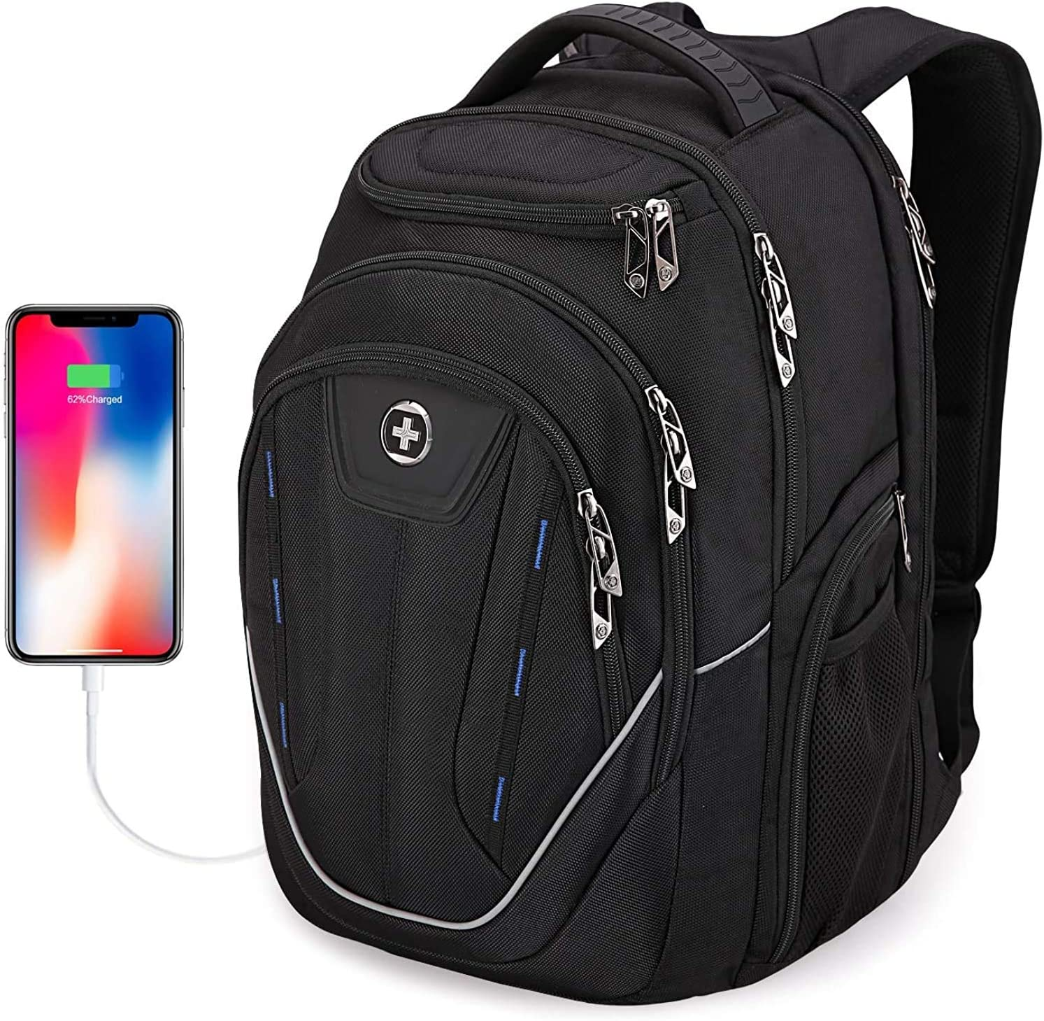Swissdigital Terabyte TSA-Friendly Water-Resistant Large Backpack, Business Laptop Backpack for Men with USB Charging Port/RFID Protection Big School Bookbag Fits up to 15.6