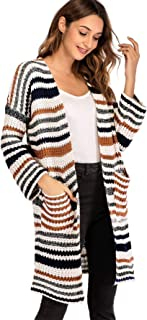 Milumia Striped Warm Cardigan Long Sleeves Open Front Sweater Fall Winter Basic Lightweight Outwear with Pockets