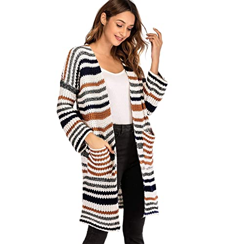 1de071e42c87 Milumia Striped Warm Cardigan Long Sleeves Open Front Sweater Fall Winter  Basic Lightweight Outwear with Pockets