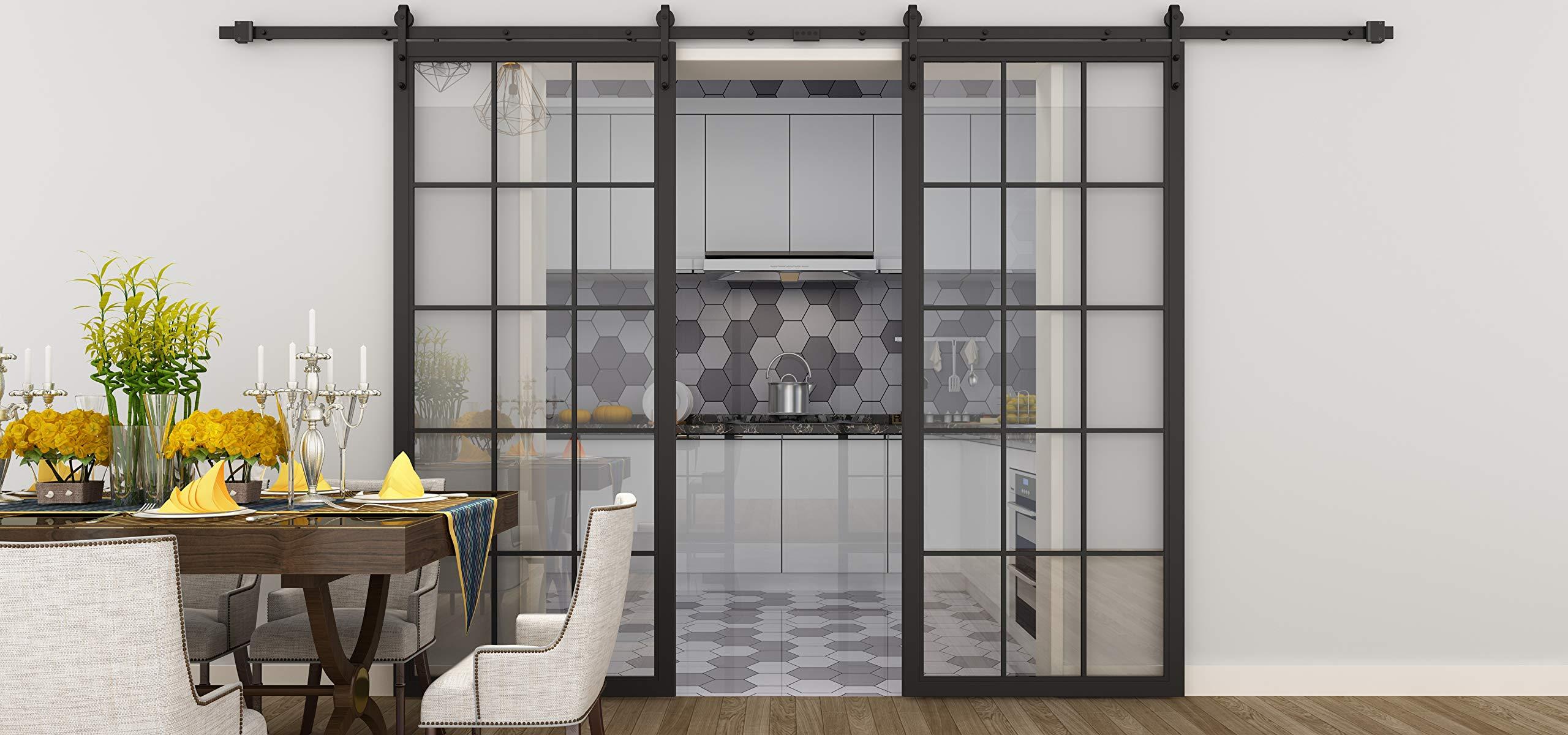 DIYHD - Puerta corredera de cristal con marco negro de 30 x 84 pulgadas: Amazon.es: Bricolaje y herramientas