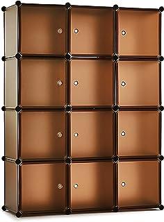 Meerveil Armoire Penderie Portable Étagère de Rangement Cubes de Stockage Modulaire en Plastique en métal Stable,Assemblag...