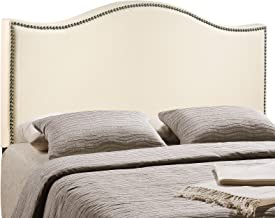 Modway Curl Linen Fabric Upholstered Queen Headboard with Nailhead Trim and Curved Shape in Ivory