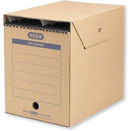 Elba 83525 Tric System Lot de 6 boîtes de rangement pour classement systématique avec onglets Marron naturel Grande taille