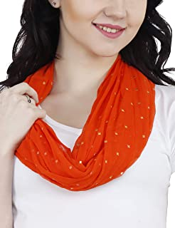 TC Solid Color and Print Soft Lightweight Chiffon Silk Feel Luxury Infinity Scarf