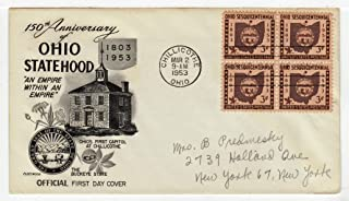 United States Ohio Statehood Sesquicentennial Postage Stamp (Block of Four) Original First Day Cover # 1018 w/Cachet Fleetwood