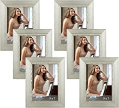 Icona Bay 5x7 Picture Frame (6 Pack, Silver), Silver Photo Frame 5 x 7, Wall Mount or Table Top, Set of 6 Regency Collection