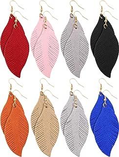 8 Pairs Leather Earrings Set Lightweight Leaf Earrings for Women Girls Soft Suede Feather Earrings