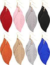 Jovitec 8 Pairs Leather Earrings Set Lightweight Leaf Earrings for Women Girls Soft Suede Feather Earrings