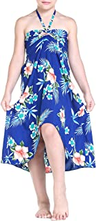 Girl Hawaiian Halter Dress in Hibiscus Blue