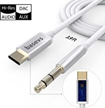 Basevs USB C to 3.5mm Aux Cable, DAC Hi-Res USB-C Male to Female Stereo Earphone Adapter for Motorola Moto Z,Google Pixel 2/2 XL, HTC U11, Samsung Note 8 S8, Letv Le Max 2 and More.Upgrade Version