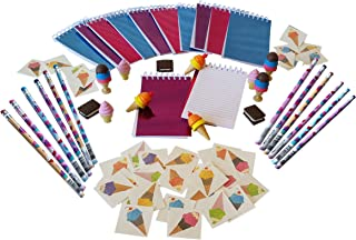 Wiser Road Sweet Treats Ice Cream Notepads, Pencils, and Erasers with 36 Bonus Tattoos - Set for 12 Kids 4-13 (72 Piece Bundle)