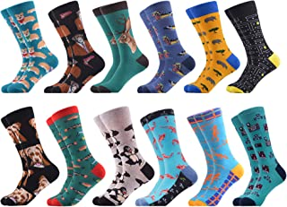 Men's Dress Cool Colorful Fancy Novelty Funny Casual Combed Cotton Crew Socks Pack