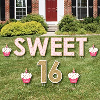 Amazon Com Big Dot Of Happiness Sweet 16 Yard Sign And Outdoor Lawn Decorations 16th Happy Birthday Party Yard Signs Set Of 8 Garden Outdoor